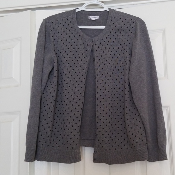 croft & barrow Sweaters - Charcoal sweater with polka dots